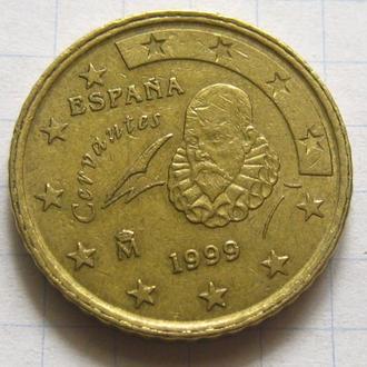 Испания_ 50 евро центов 1999 года оригинал