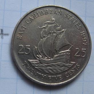ВОСТОЧНО-КАРИБСКИЕ ГОСУДАРСТВА, 25 центов 1997 года.