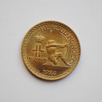 Монако 1 франк 1924 г., UNC, 'Князь Луи II (1922-1949)'