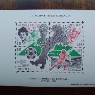 Монако.1990г. Чемпионат мира по футболу. Почтовый блок. MNH