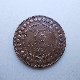 Тунис 10 сантимов 1916 г