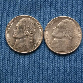 США 5 центов  2001 г   P D   2шт
