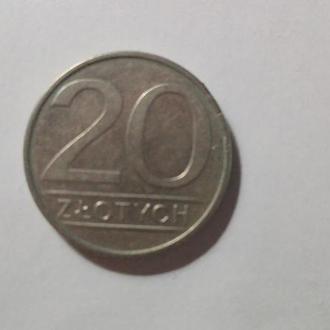 Монета 20 Zlotych, 1986г. Польша.