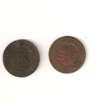 Медная российская монета, 2 монеты по 1 пейки. 1895 и 1908 года выпуска