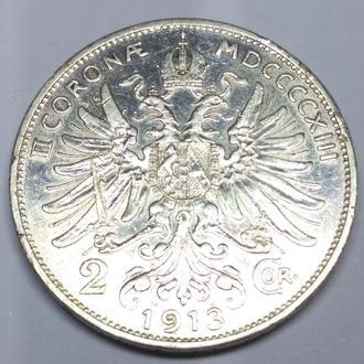 2 короны 1913 Австро-Венгрия, оригинал, серебро, сохран!