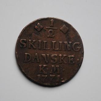 Дания 1/2 скиллинга 1771 г., 'Король Кристиан VII (1766-1808)', ОЧЕНЬ РЕДКАЯ