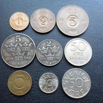 Подборка набор монет Швеция 1943 - 1990 г.г. эре, крона