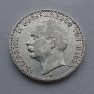 1909 г - 3 марки Германии,Баден,серебро