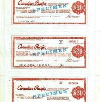Дорожные Чеки Канада $20 3 штуки на листе Образец
