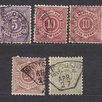 Немецкие земли, Wurttemberg, 1875 г., первые марки, марка № 44-48