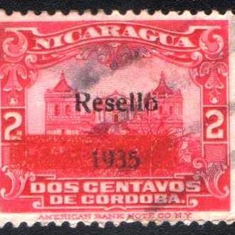 Никарагуа (1935) Кафедральный собор в городе Леон. Надпечатка