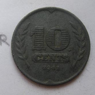 НИДЕРЛАНДЫ 10 центов 1941 года.
