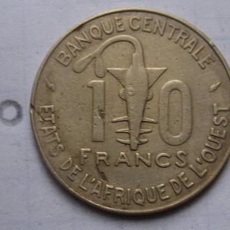 ЗАПАДНАЯ АФРИКА, 10 франков 1987 года.