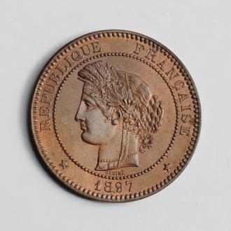 "Франция 10 сантимов 1897 г. A, UNC, ""Третья Республика (1870 - 1941)"""