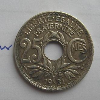 Франция. 25 сантимов 1931 года.