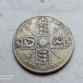 Великобритания 2 шиллинга (флорин) 1921 г (1). Георг V. Серебро 500