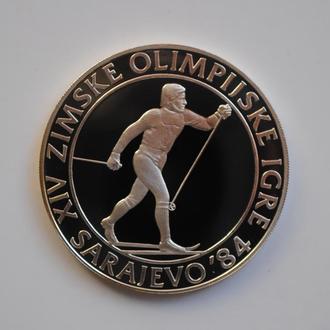 Югославия 500 динаров 1984 г., PROOF, 'Сараево 1984 - Лыжные гонки'