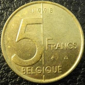 5 франків Бельгія 1998 Belgique