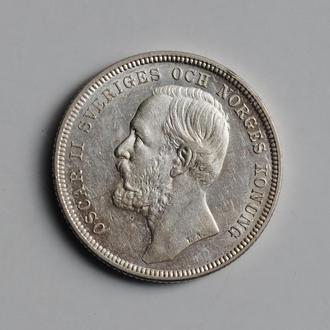 """Швеция 1 крона 1897 г., AU, """"Король Оскар II (1873 - 1907)"""""""
