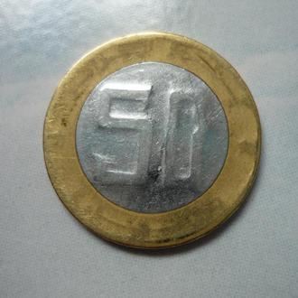 Алжир 50 динаров 1994 юб. биметалл