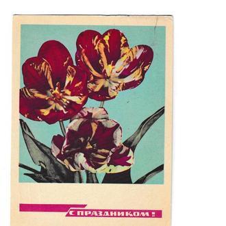 Открытка 1968 С Праздником!, цветы, п/п