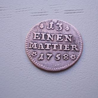 1 дениер 1758г. германия серебро