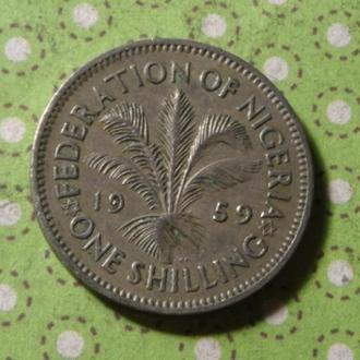 Нигерия 1959 год монета 1 шиллинг !