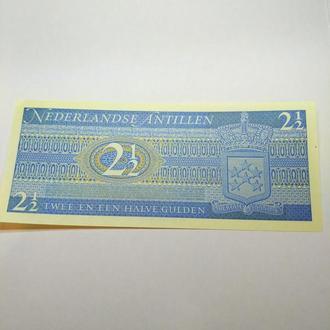 2  1/2 гульдена Нидерландские Антилы, 1970, пресс, unc, оригинал