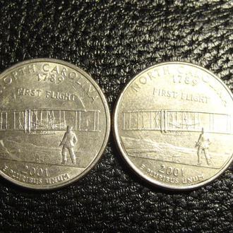 25 центів 2001 США  Північна Кароліна (два різновиди)