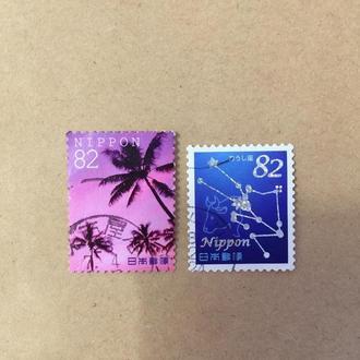 Япония/ флора/ пальмы/ созвездия/ космос/ небо