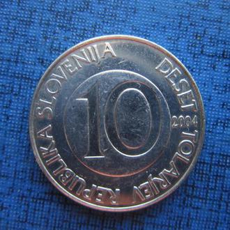 монета 10 толаров Словения 2004 фауна лошадь