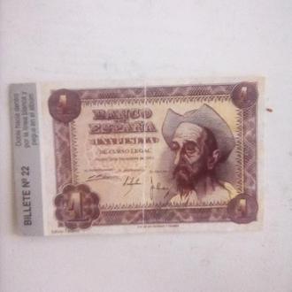 Банкнота 1песета 1951 год Испания
