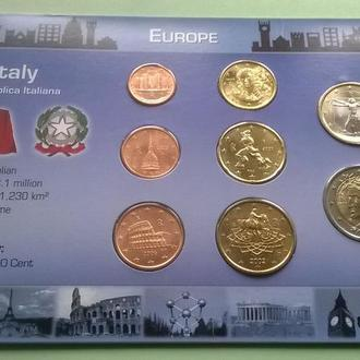 Набор евро монет ИТАЛИЯ пластик картон блистер запайка набір ІТАЛІЯ євро