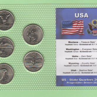 Набор квотер ов США 2007 D - пластик блистер запайка