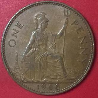 1 пенни 1966  год Великобритания