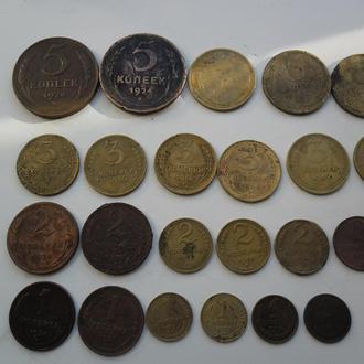 монеты разные 5-3-2-1 копейки.
