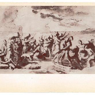 Открытка 1986 Живопись, искусство, Никола Пуссен, Переход через Красное (Чёрное) Море, Эрмитаж