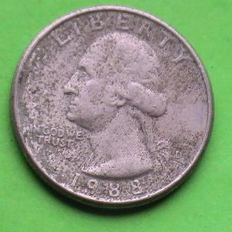 25 Центов 1988 г США Квотер 25 Центів 1988 р США