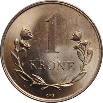 """Гренландия 1 крона 1964 г., BU, """"Датская территория (1953 - 1979)"""""""