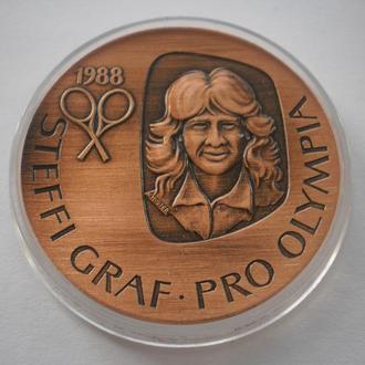 Раритет. Мідна медаль Штеффі Граф олімпійська чемпіонка. Олімпіада. Сеул 1988 рік. Теніс теннис.