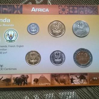 Набор монет РУАНДА 6 монет (в т.ч. 100 франков биметал ) пластик картон блистер запайка набір РУАНДА