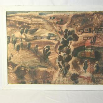 """Шульган А.В. """"Сельский пейзаж"""". Акварель, бумага. Размеры 36х52 см."""