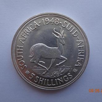 Южная Африка 5 шиллингов 1948 George VI серебро СУПЕР состояние очень редкая