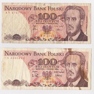 100 ЗЛОТЫХ  = 1986 и 1988 гг. = ПОЛЬША =