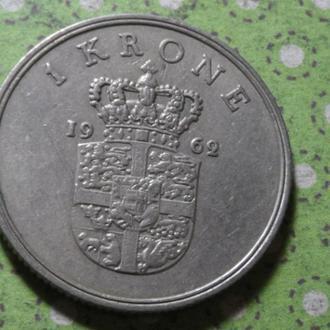 Дания 1962 год монета 1 крона !
