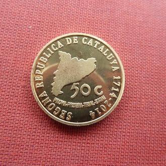 Каталония (Испания) 50 центов 2014г. редкий,UNC,исторические личности Каталонии