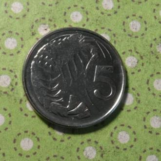 Кайманы 2008 год монета 5 центов Каймановы острова !