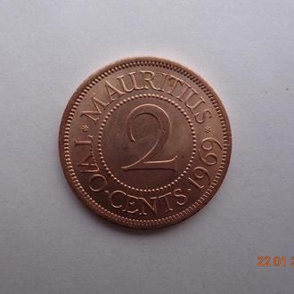 Британский Маврикий 2 цента 1969 Elizabeth II СУПЕР состояние редкая