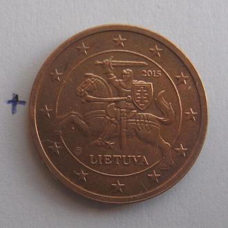 ЛИТВА, 2 евроцента 2015 года.