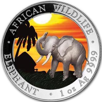 """Сомали """"Слон"""". Серебро 999.9 пробы. Тираж 100 экз. в мире."""